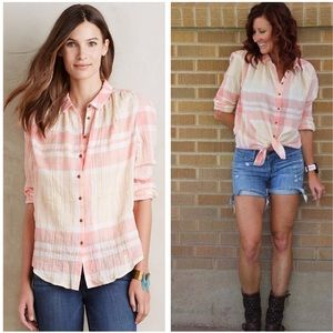 Holding horses Anthropologie plaid button down tee
